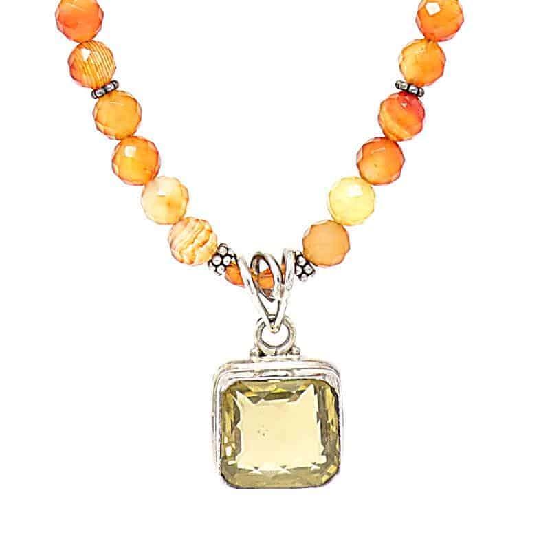 Carnelian and Lemon Quartz Necklace-Pendant