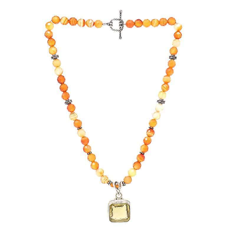 Carnelian and Lemon Quartz Necklace