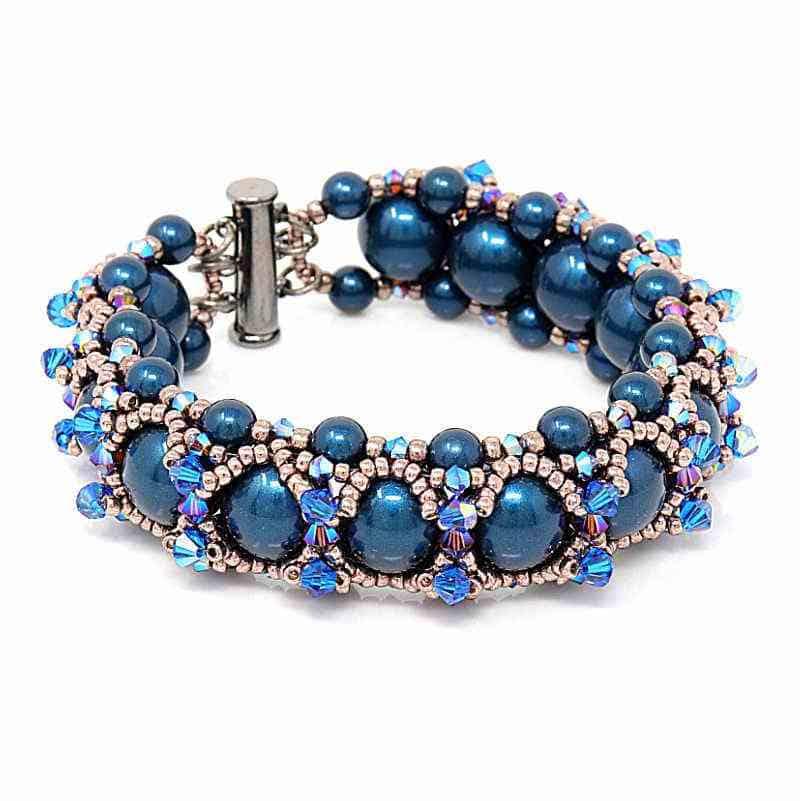 Swarovski blue pearl and crystal bracelet