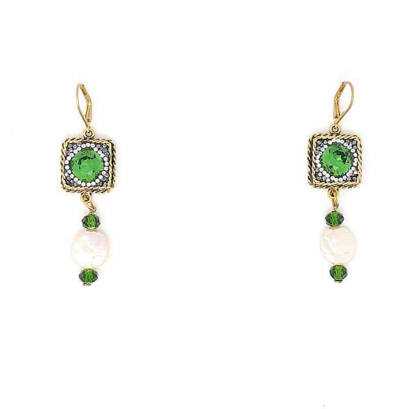 Swarovski Emerald Pearl Crystal Earring