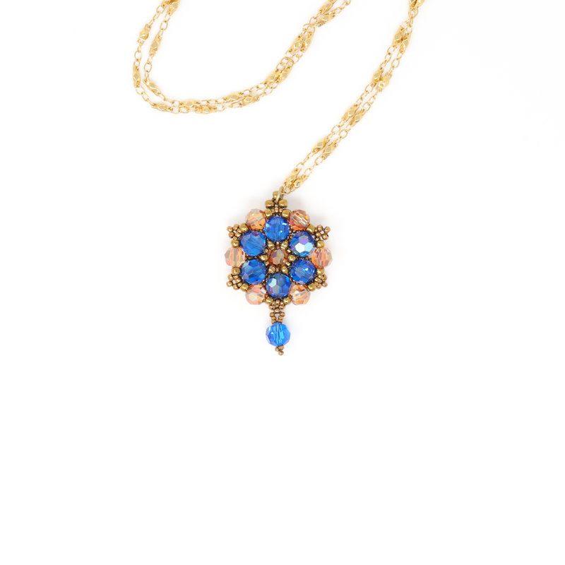 Melbourne Blue Swarovski Crystal Necklace - Side A