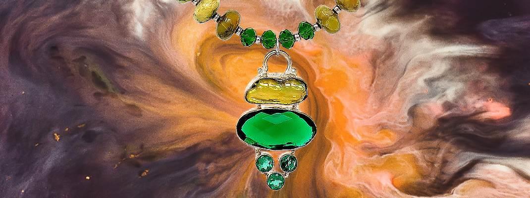 HerMj - Yellow Tourquise Necklace - pendant