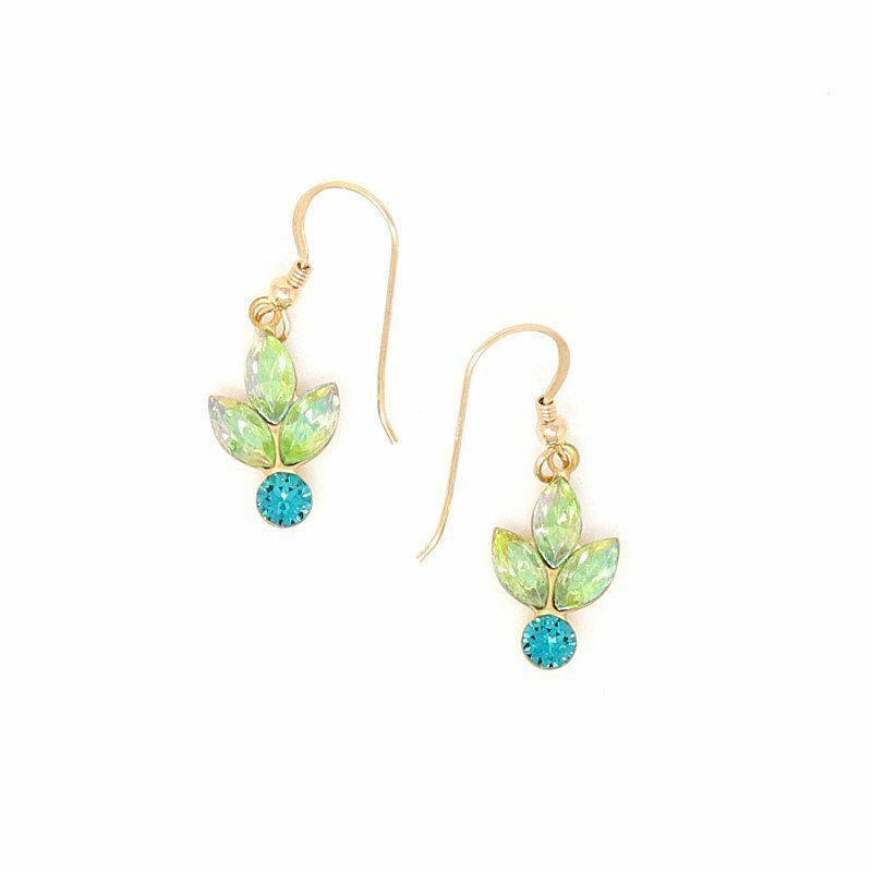 Peridot Golden Reflections Swarovski Crystal Earrings - HerMJ