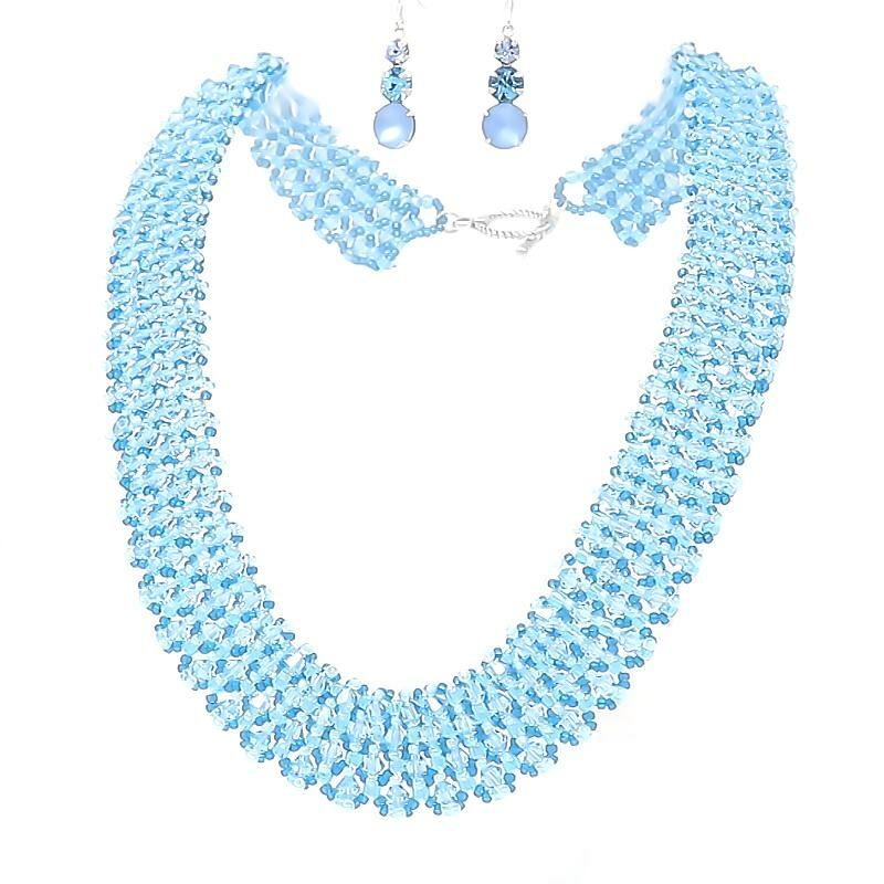 Swarovski Aquamarine Crystal Necklace and Earring Set