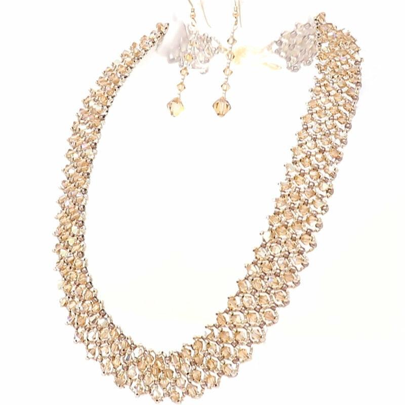 Swarovski Topaz Crystal Necklace and Earrings Set