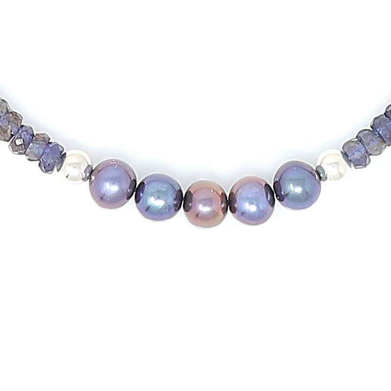 Blue Sapphire Freshwater Pearl Necklace - Pearls
