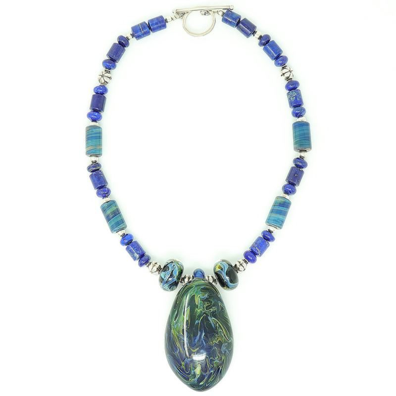 Lapis Lazuli Sterling Silver Pendant Necklace