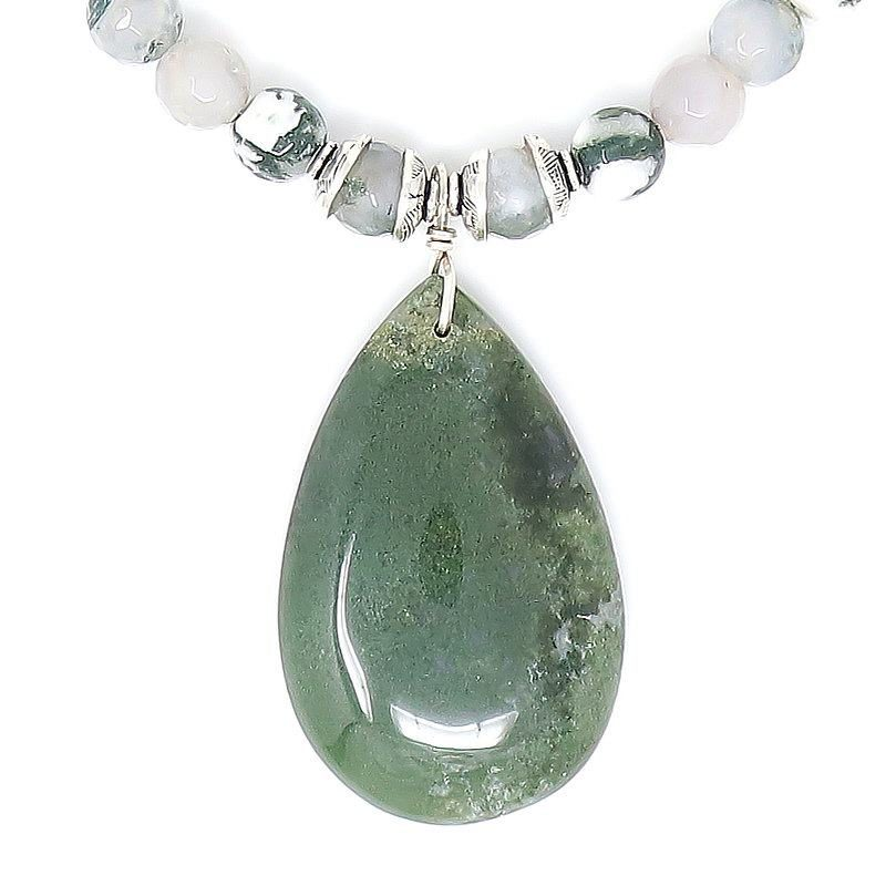 Moss Agate Sterling Silver Pendant Necklace - Pendant